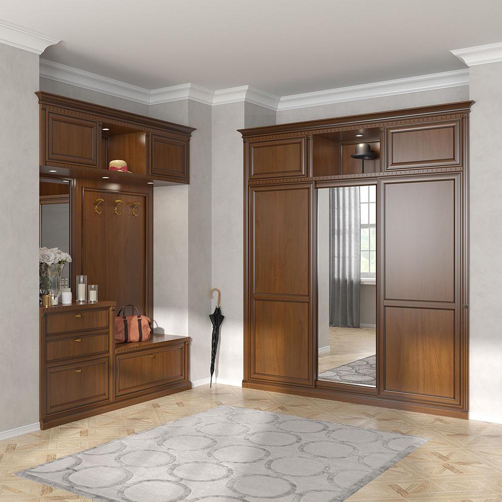 Шкаф трехдверный встроенный итальянская классика 077