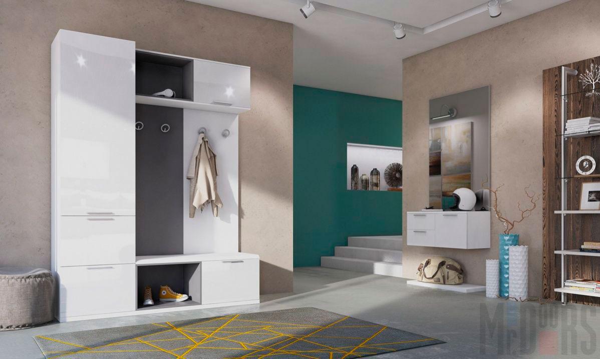 Открытая прихожая со светлой мебелью в квартире-студии