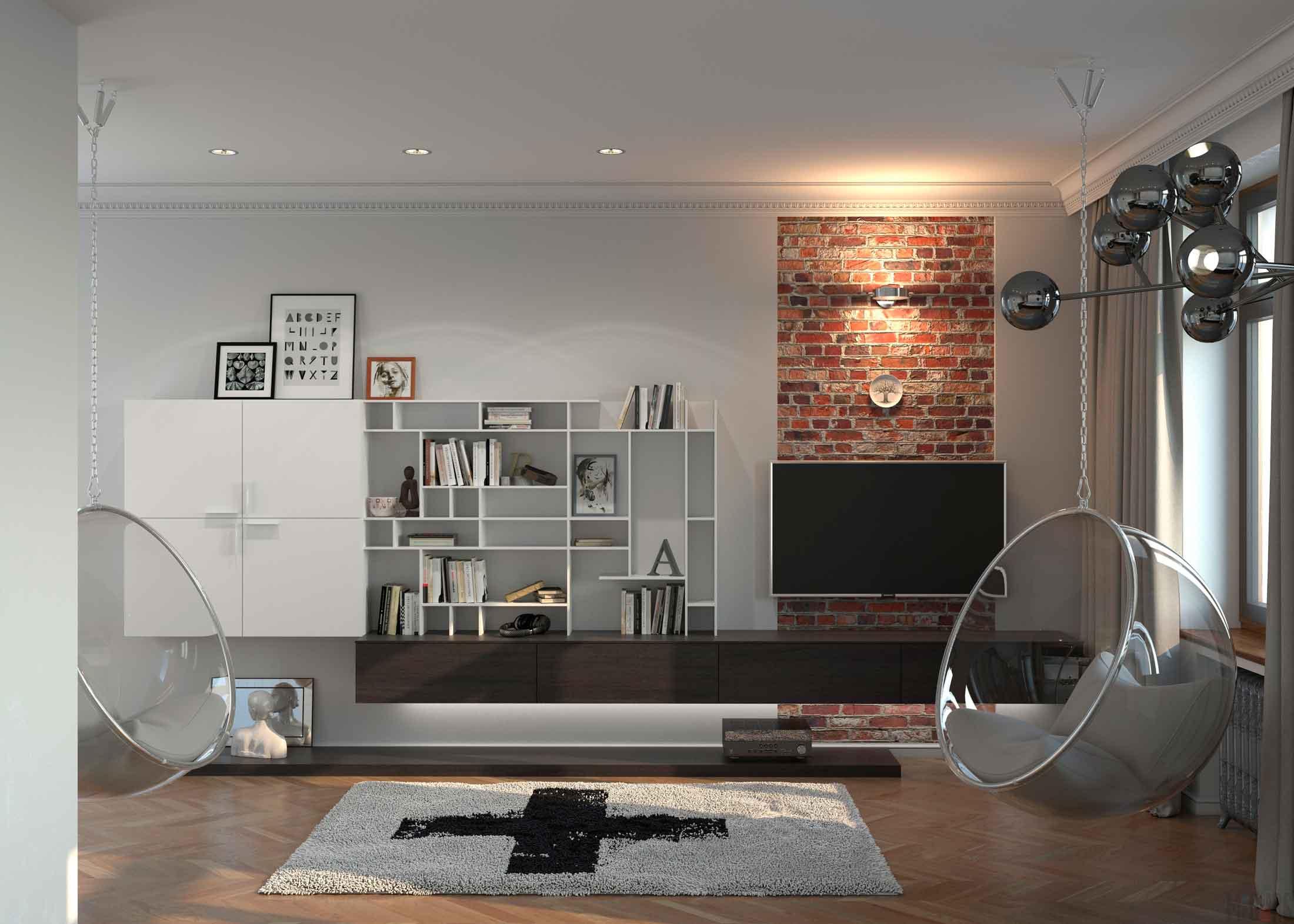 Стильная гостиная в квартире-студии