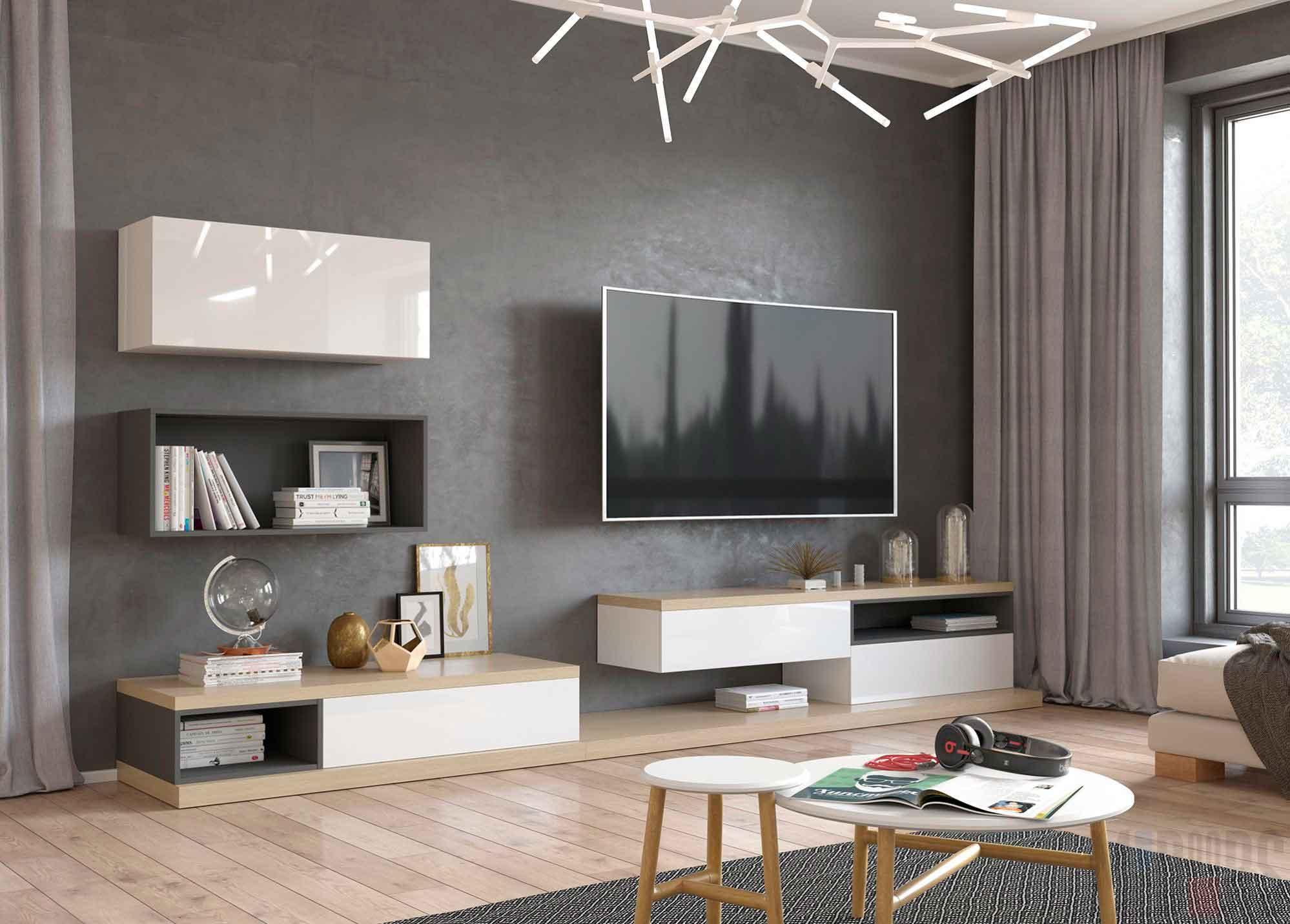 Гостиная с серыми стенами в квартире-студии