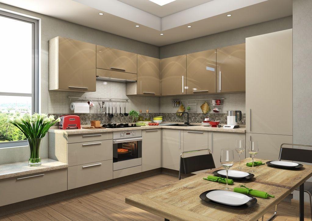 кухня МДФ в высокоглянцевой пленке фото