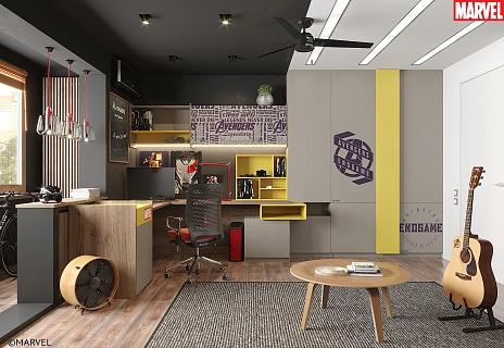 Комната с героями Marvell: гостиная, спальня и кабинет - мебель на заказ MrDoors.